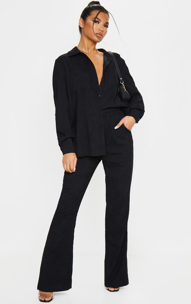 Black Cord High Waisted Wide Leg Trouser 1