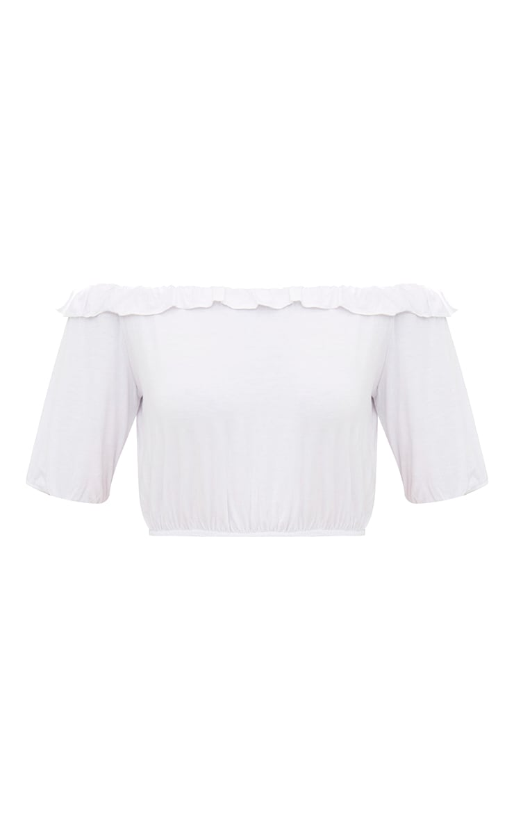 White Jersey Bardot Frill Crop Top 3