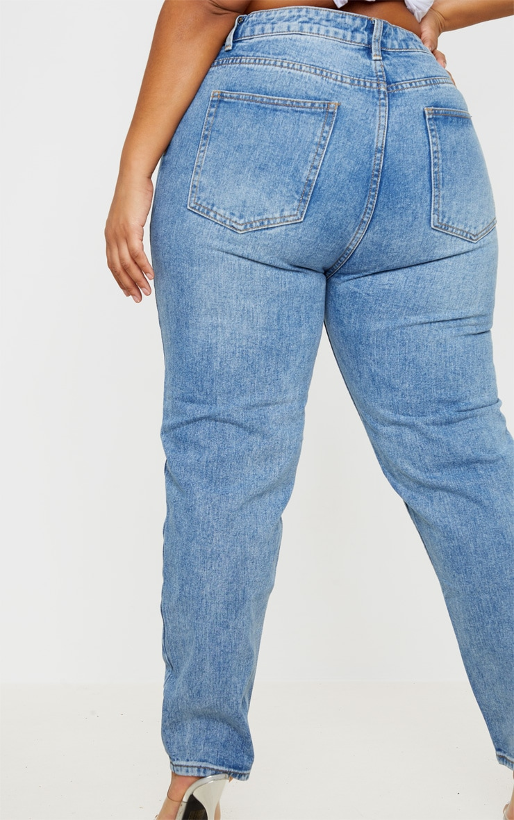 Plus Mid Washed Mom Jeans 3