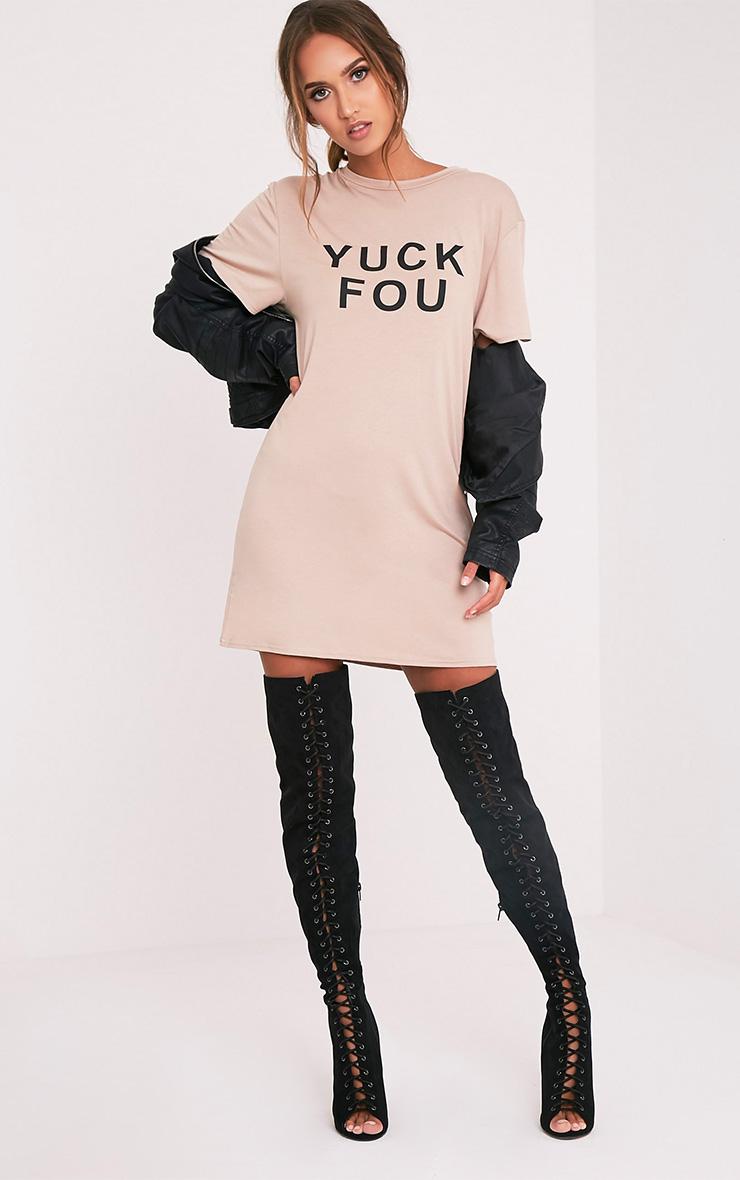 Yuck Fou Slogan Nude T Shirt Dress 1