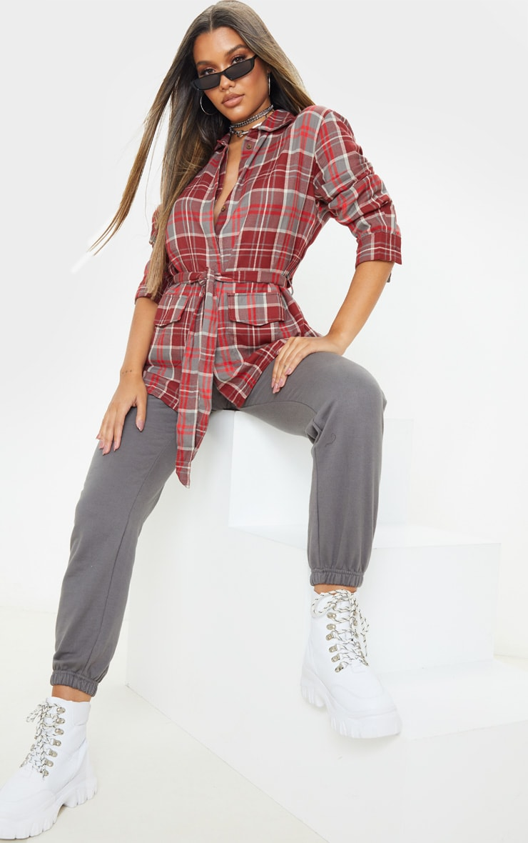 Red Check Belted Oversized Shirt 4