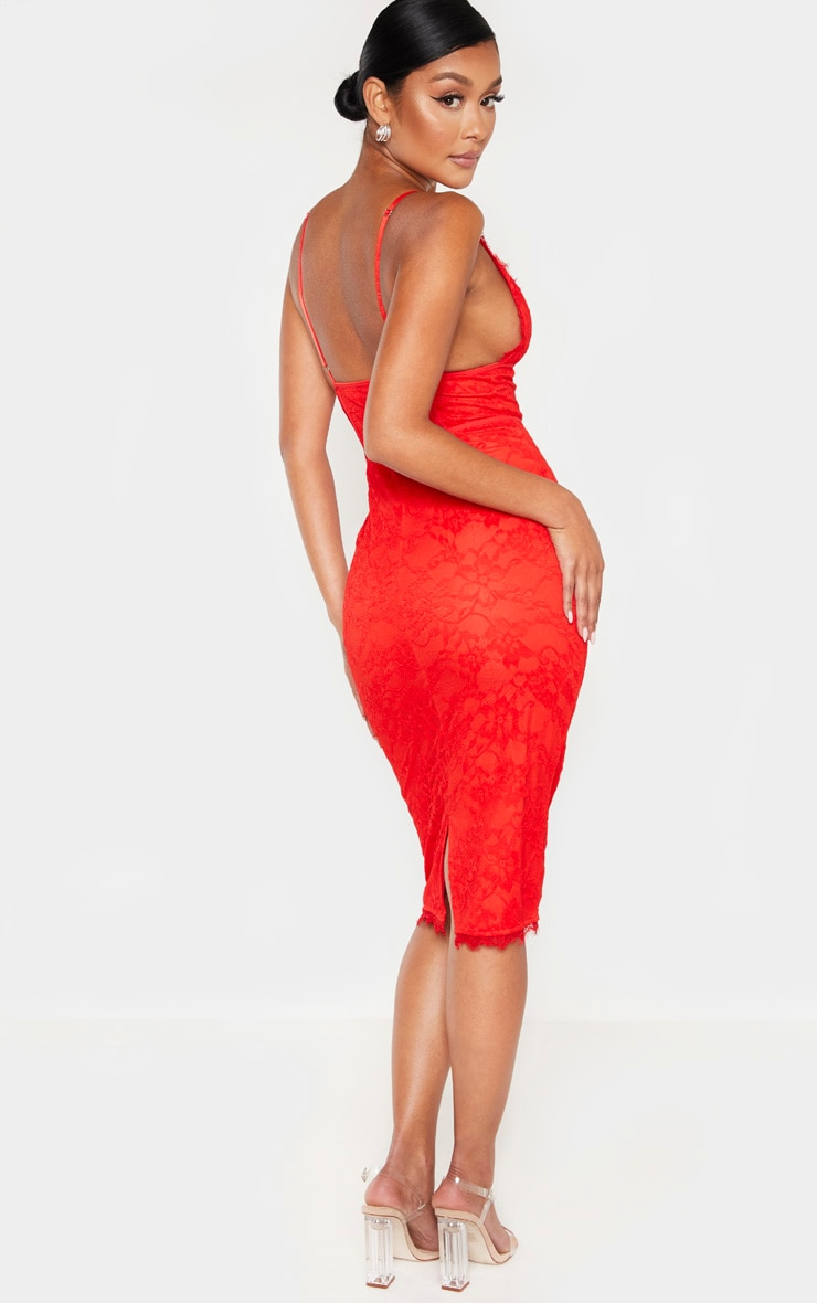 Red Lace Midi Dress 2