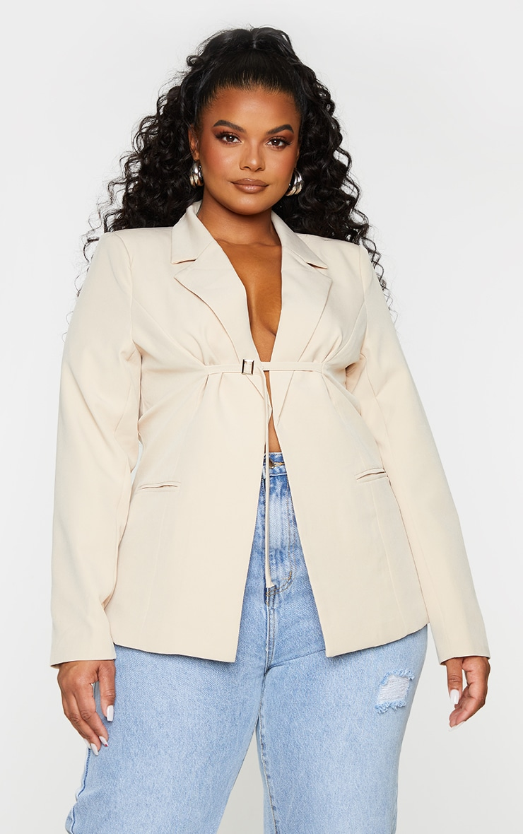 Plus Cream Woven Fitted Buckle Fastening Blazer image 3