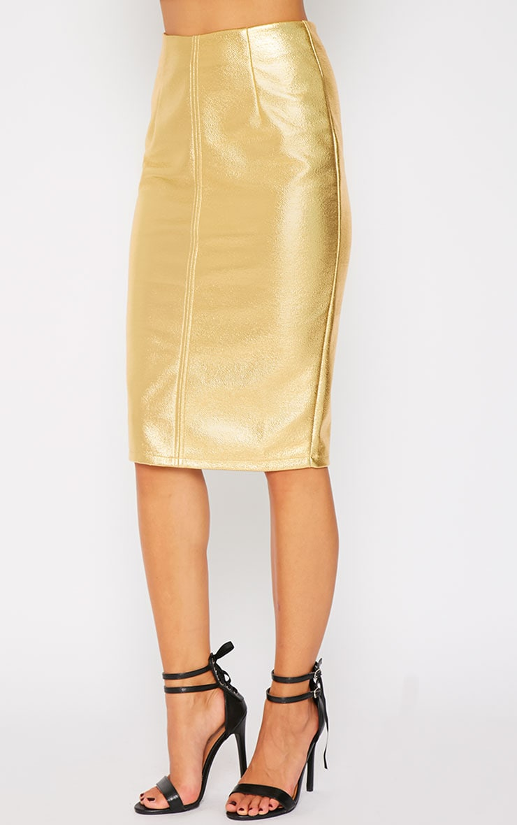 Catalina Gold Coated Midi Skirt 5