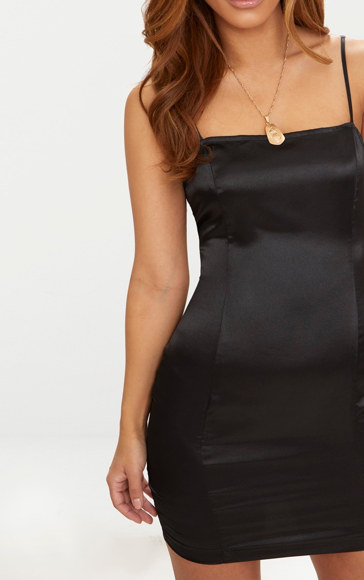 Petite Black Satin Strappy Straight Neck Bodycon Dress 5