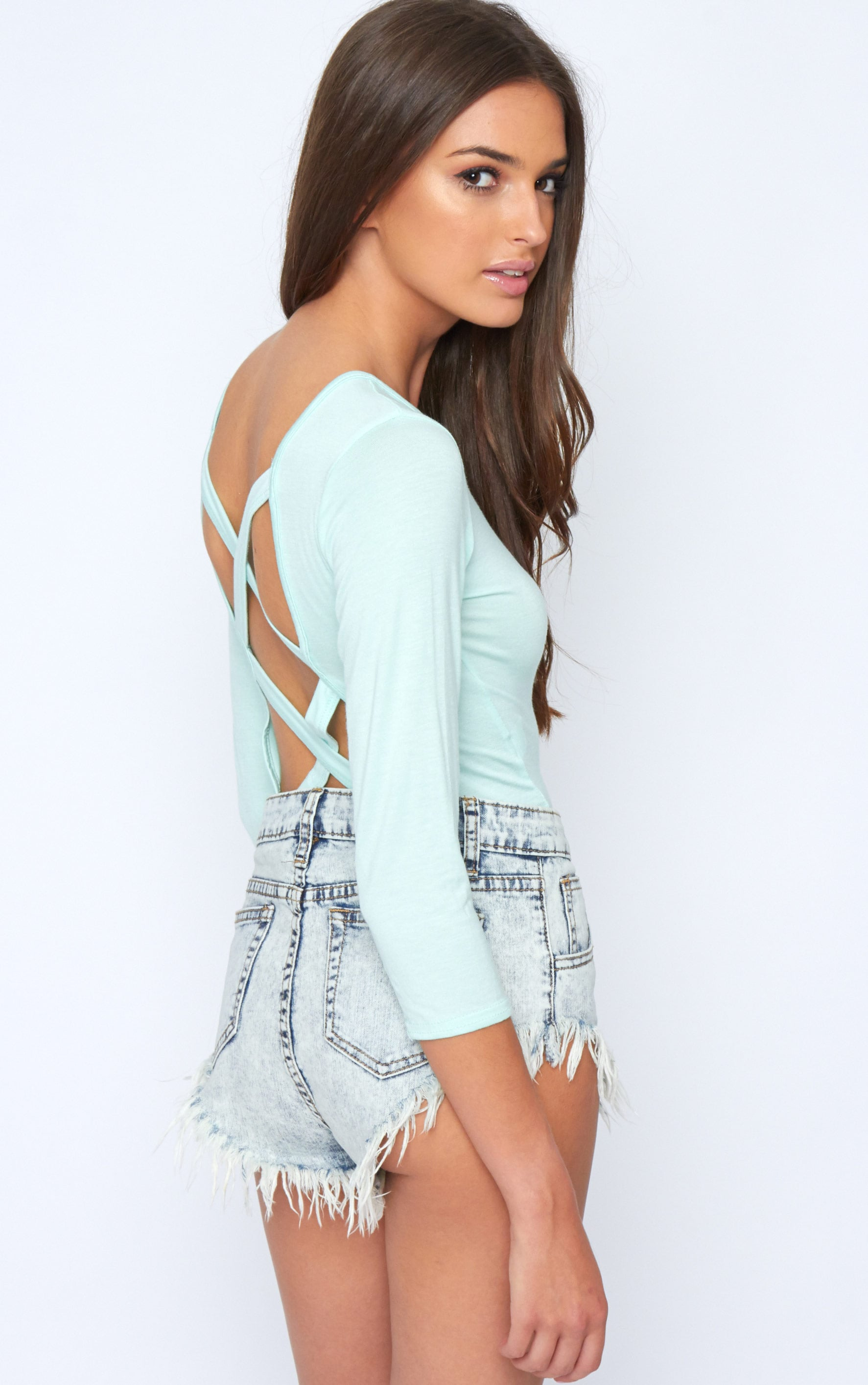 Kate Mint Cross Back Crop Top  3