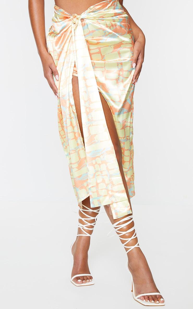 Orange Abstract Printed Wrap Tie Midi Skirt 2