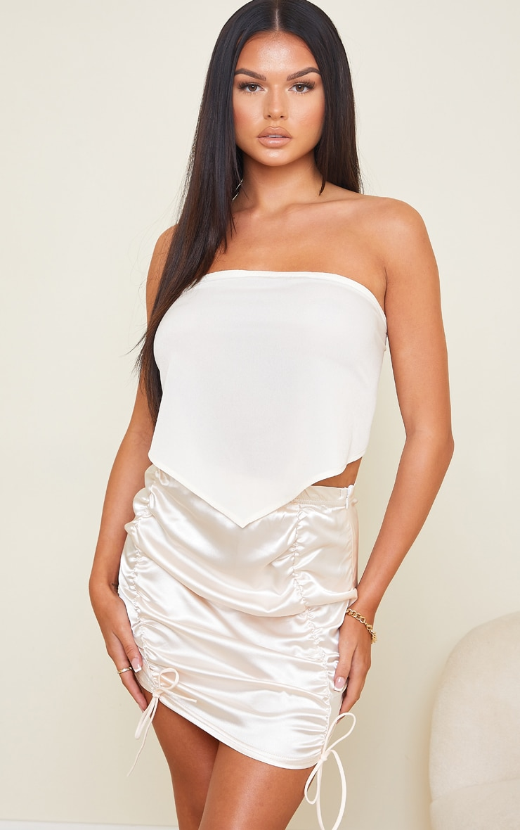 Champagne Satin Ruched Front Mini Skirt 4