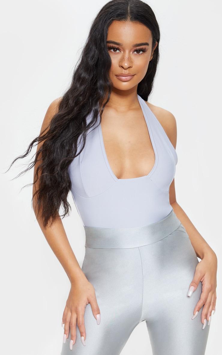 Light Grey Plunge Sleeveless Bodysuit 2