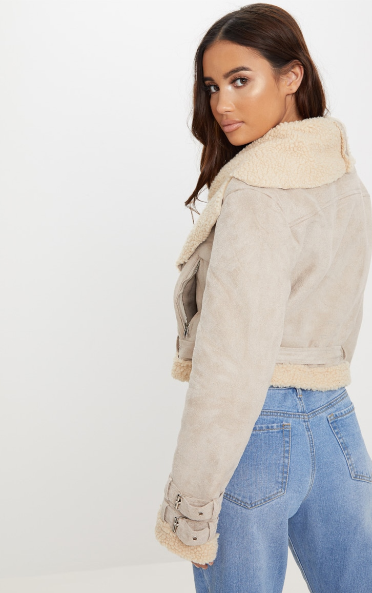 Beige Cropped  Aviator Jacket 2