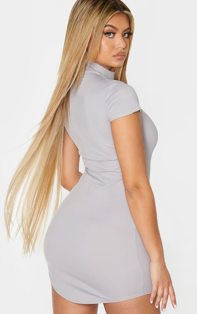 Grey High Neck Ribbed Bodycon Dress