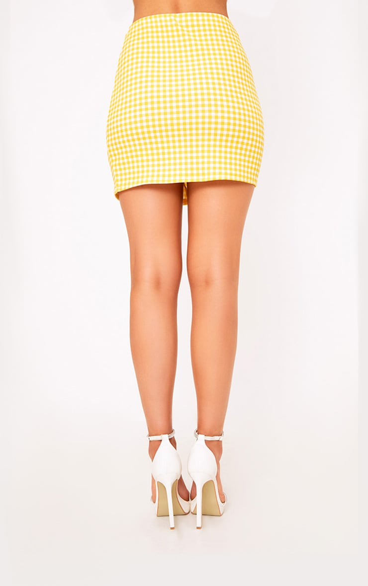Yellow Gingham Ruffle Mini Skirt 4