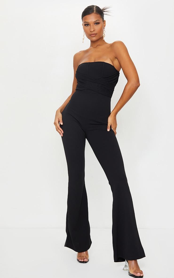 Black Bandeau Drape Binding Detail Jumpsuit