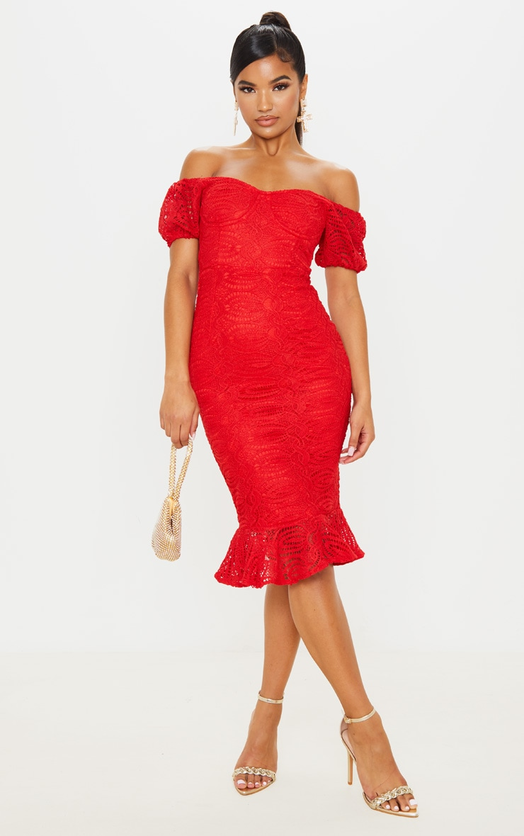 Red Cup Detail Lace Bardot Midi Dress 1