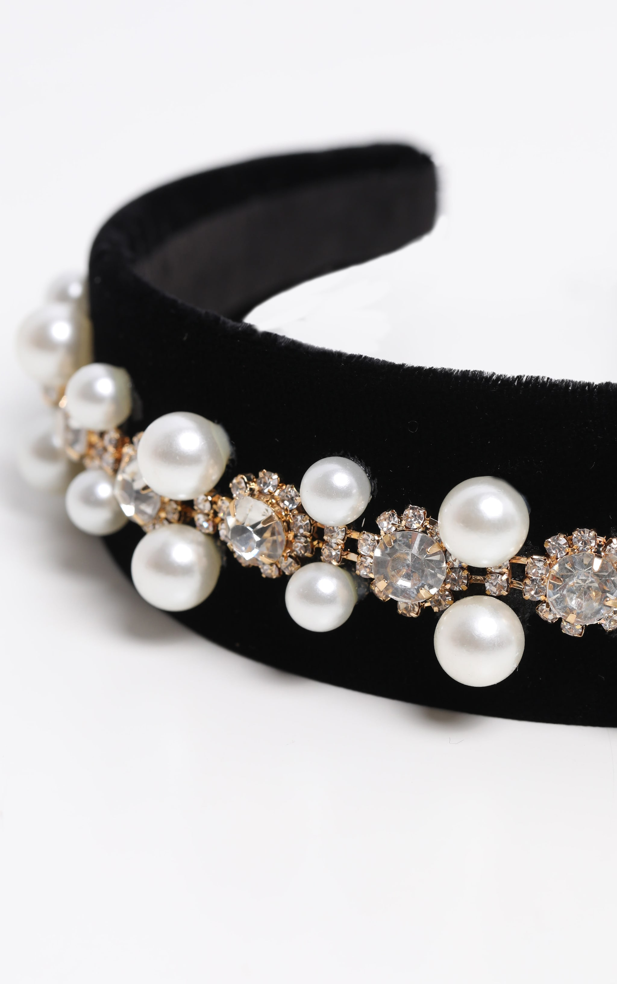 Black Velvet Pearl And Diamante Alice headband 2