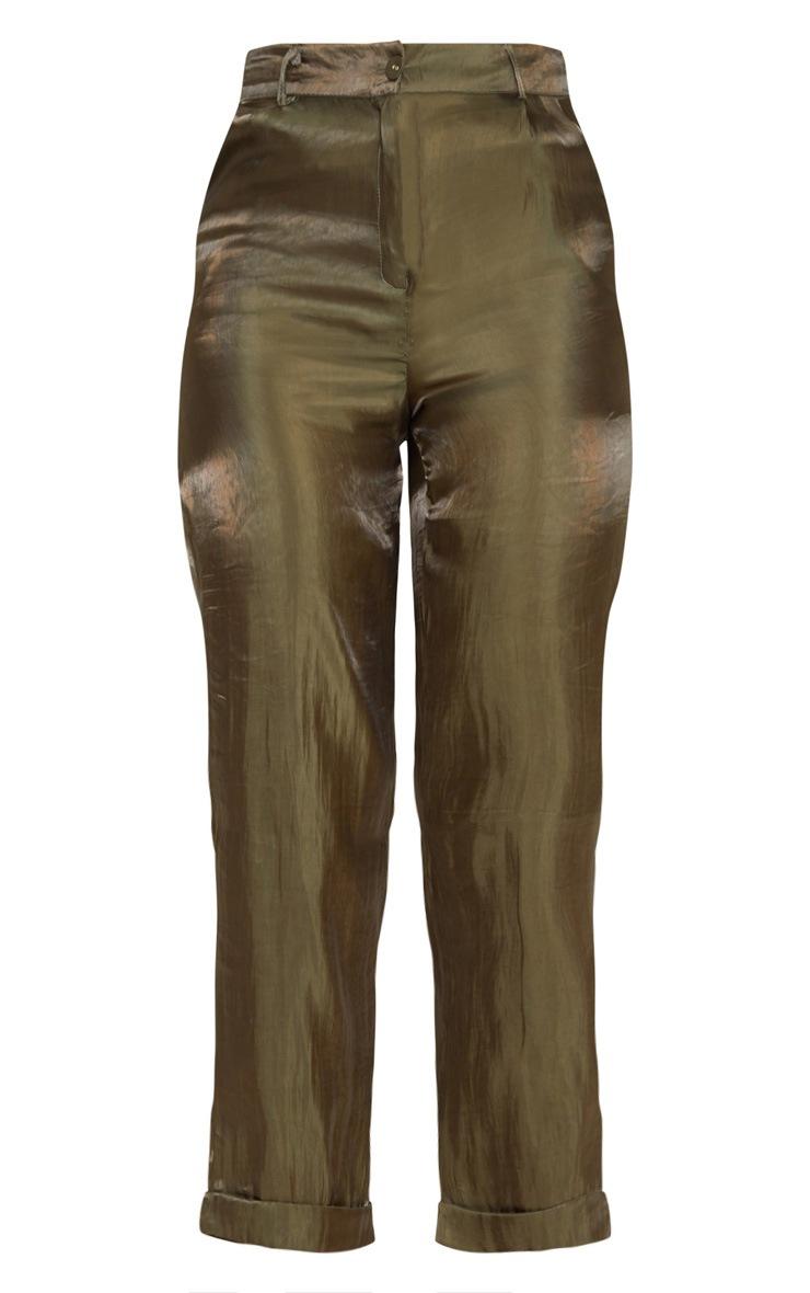 Khaki Shiny Cropped Turn Up Pants 3