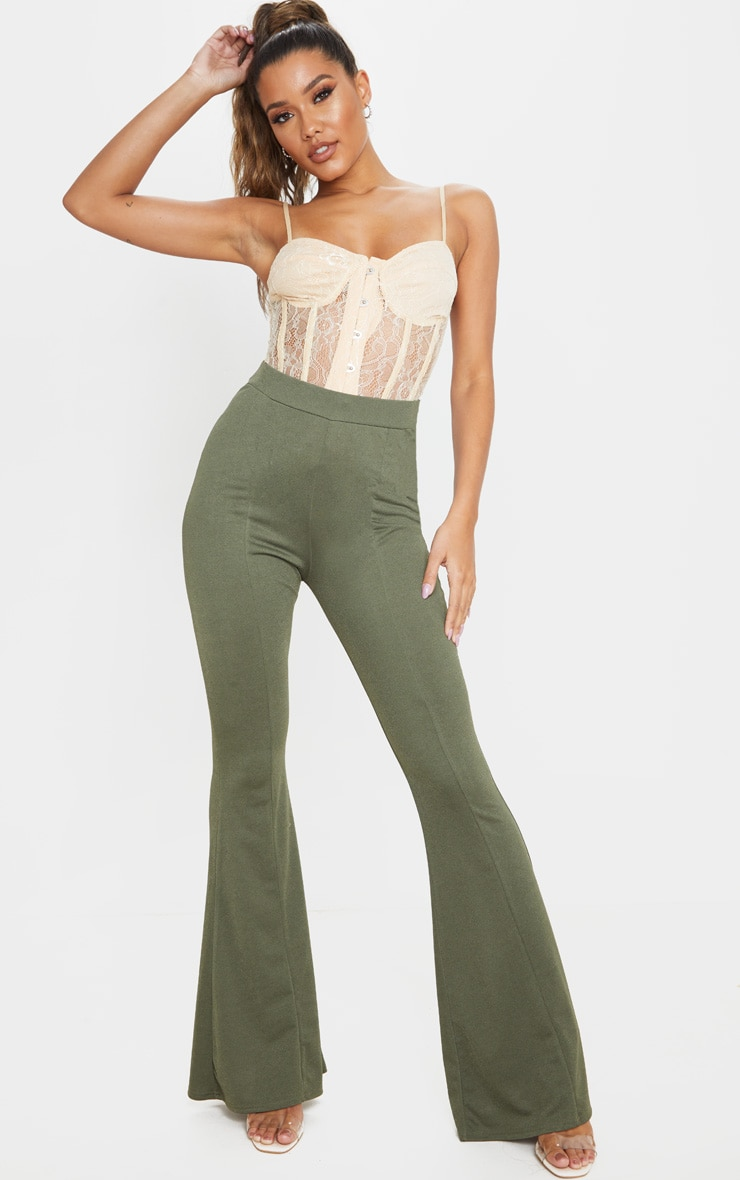 khaki-crepe-extreme-flare-trouser by prettylittlething