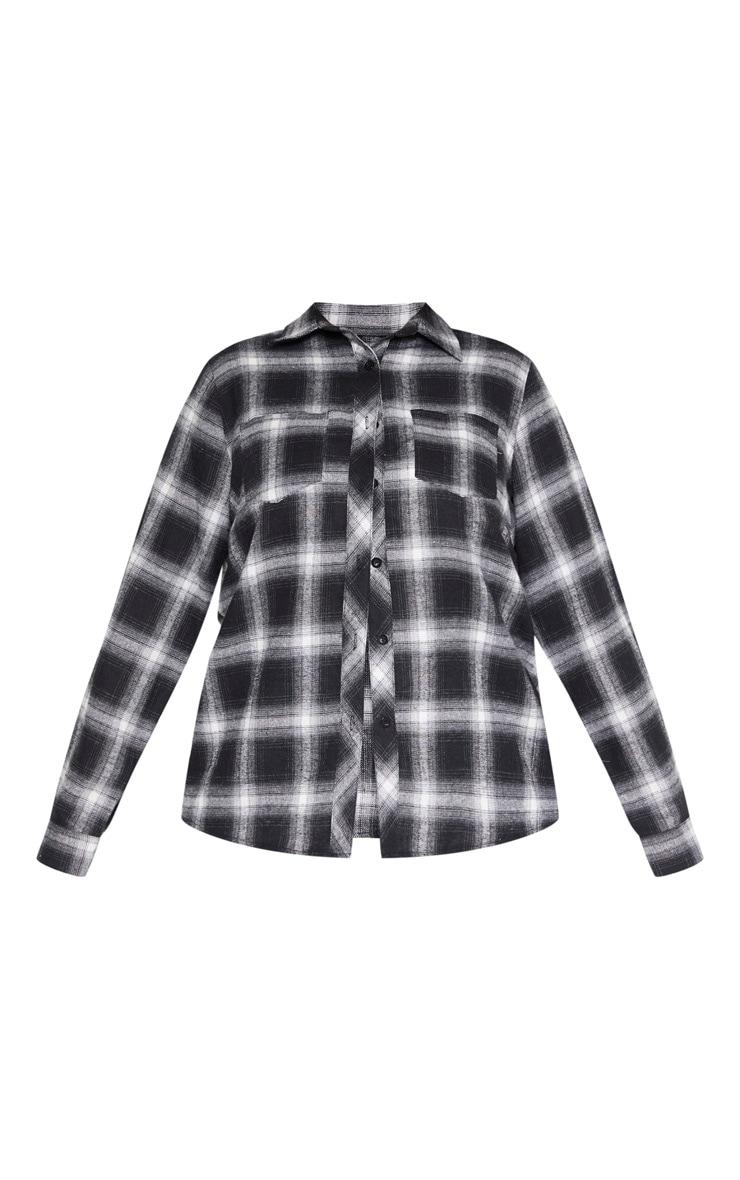 PLT Plus - Chemise oversized noire & blanche tartan 3