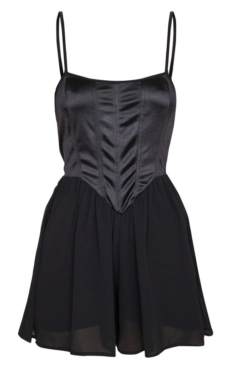 Combishort corset noir satiné à short mousseline de soie 4
