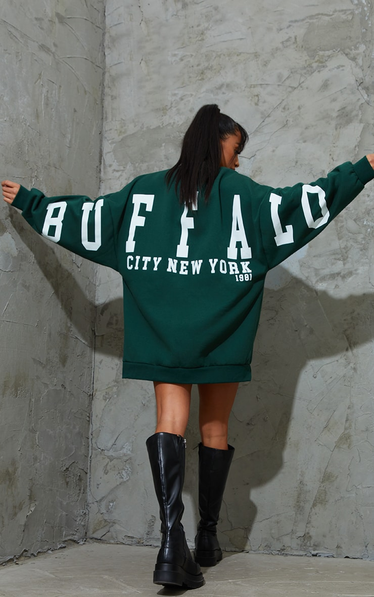 Petite Dark Green Buffalo New York Slogan Sweat Jumper Dress 1