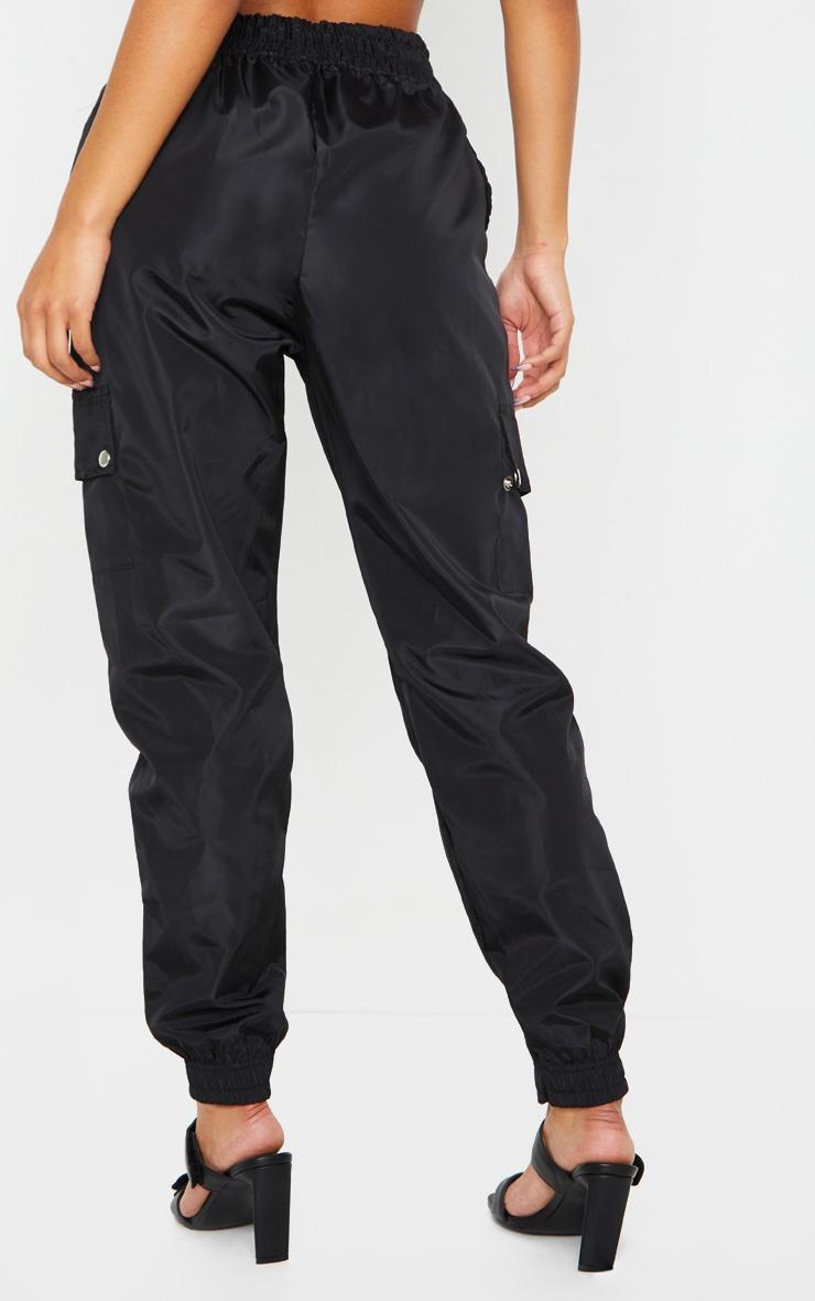 Black Shell Pocket Detail Cargo Pants 3