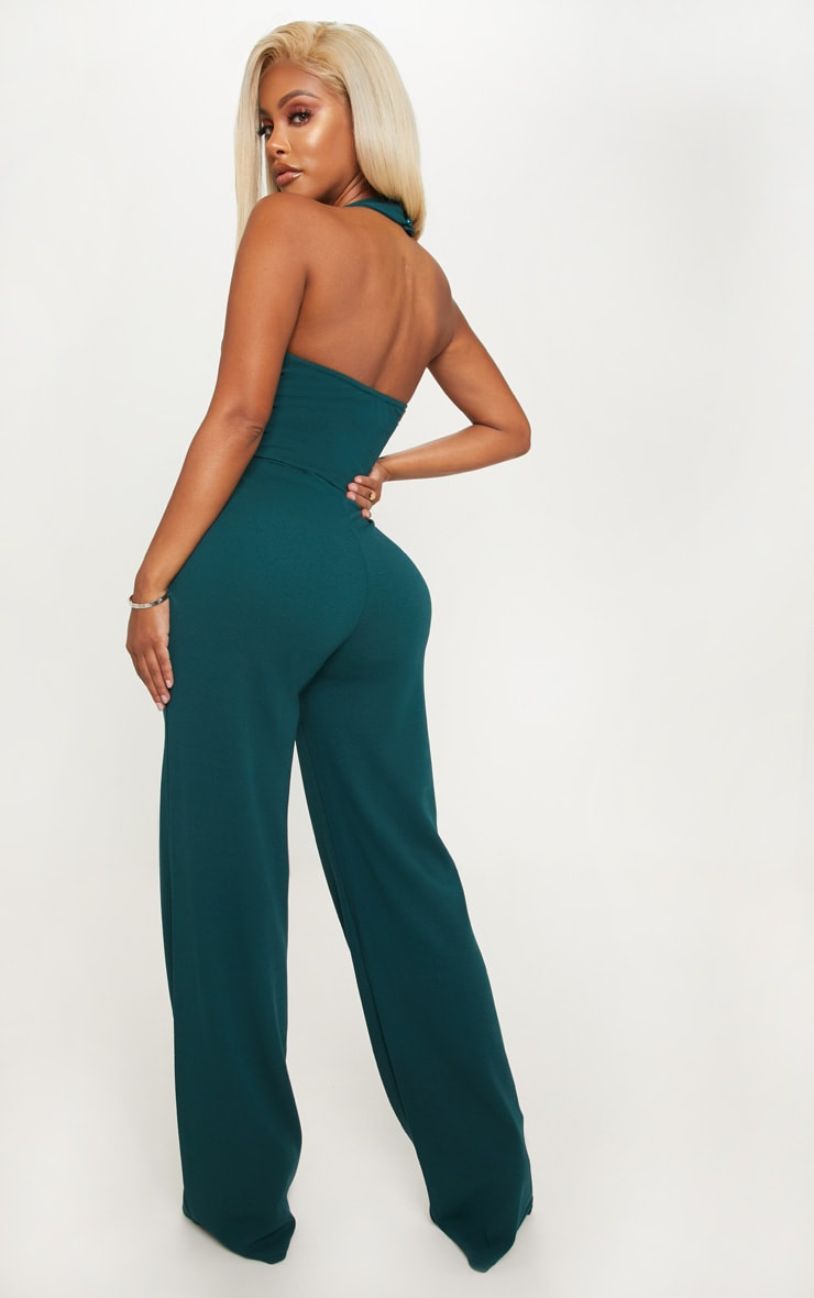 Shape Emerald Green Plunge Halterneck Jumpsuit 3