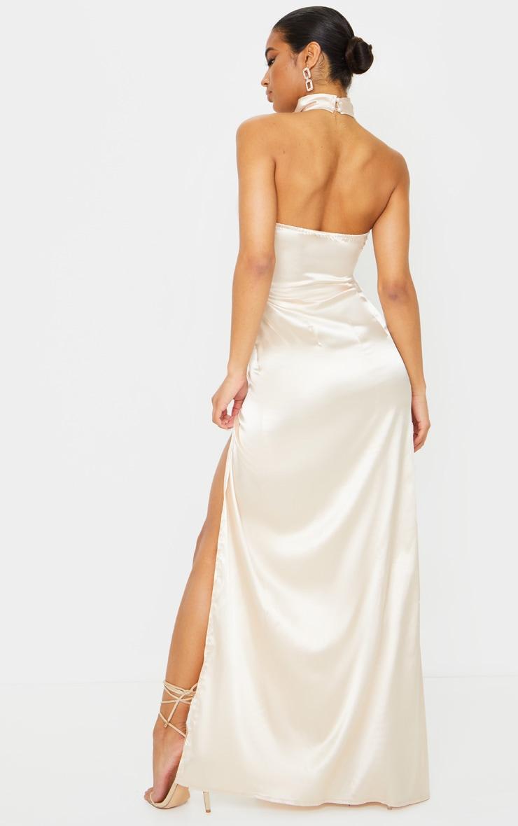 Champagne Satin High Neck Backless Maxi Dress 2