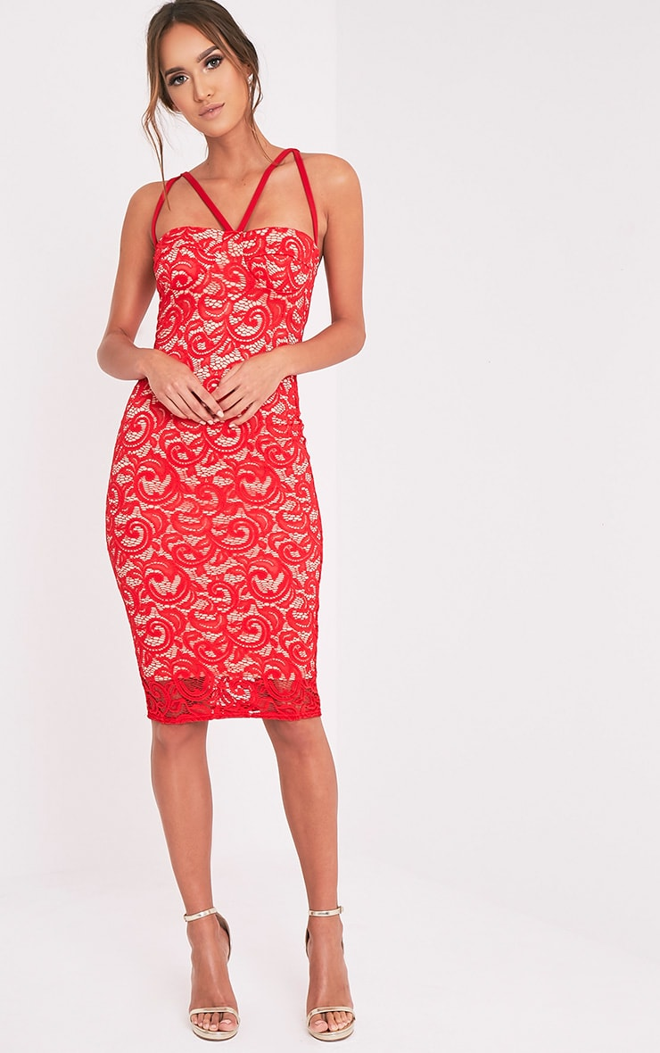 Mayley Red Lace Harness Detail Midi Dress 2