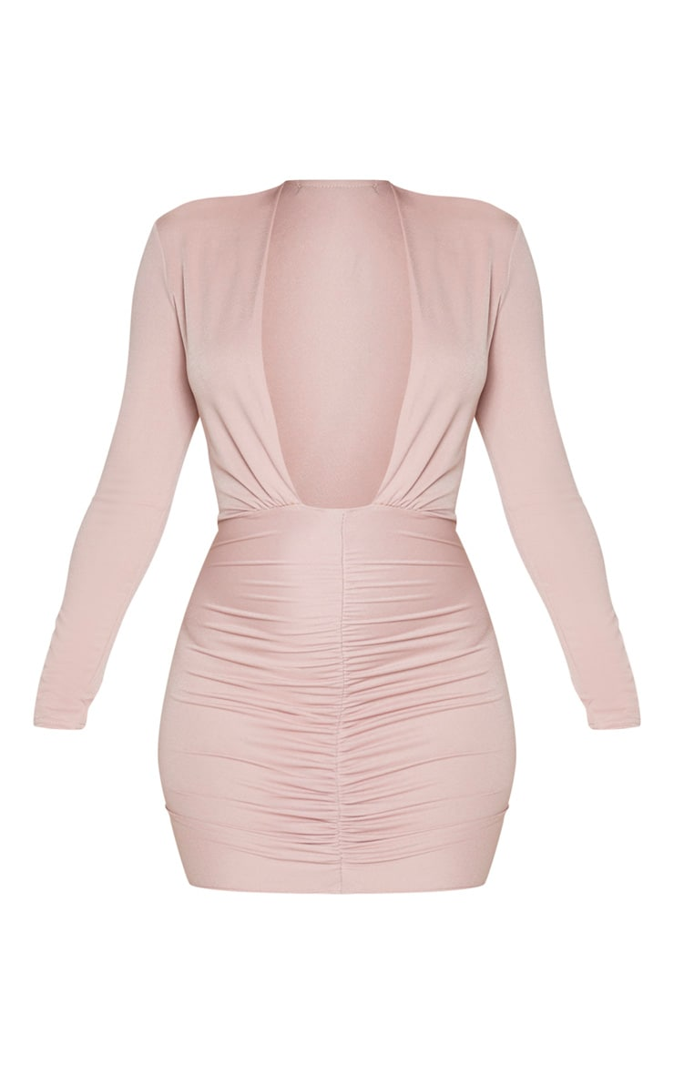 Dusty Rose Long Sleeve Ruched Skirt Bodycon Dress 3