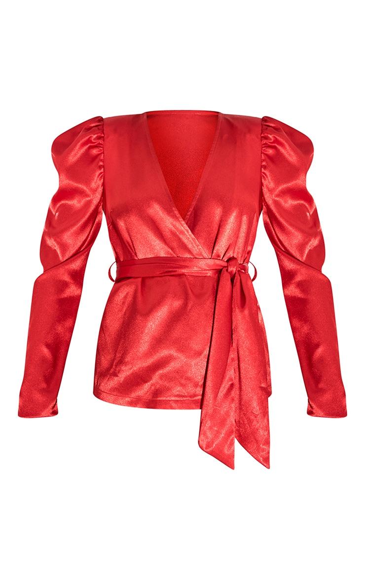Red Satin Puff Sleeve Wrap Blazer 5