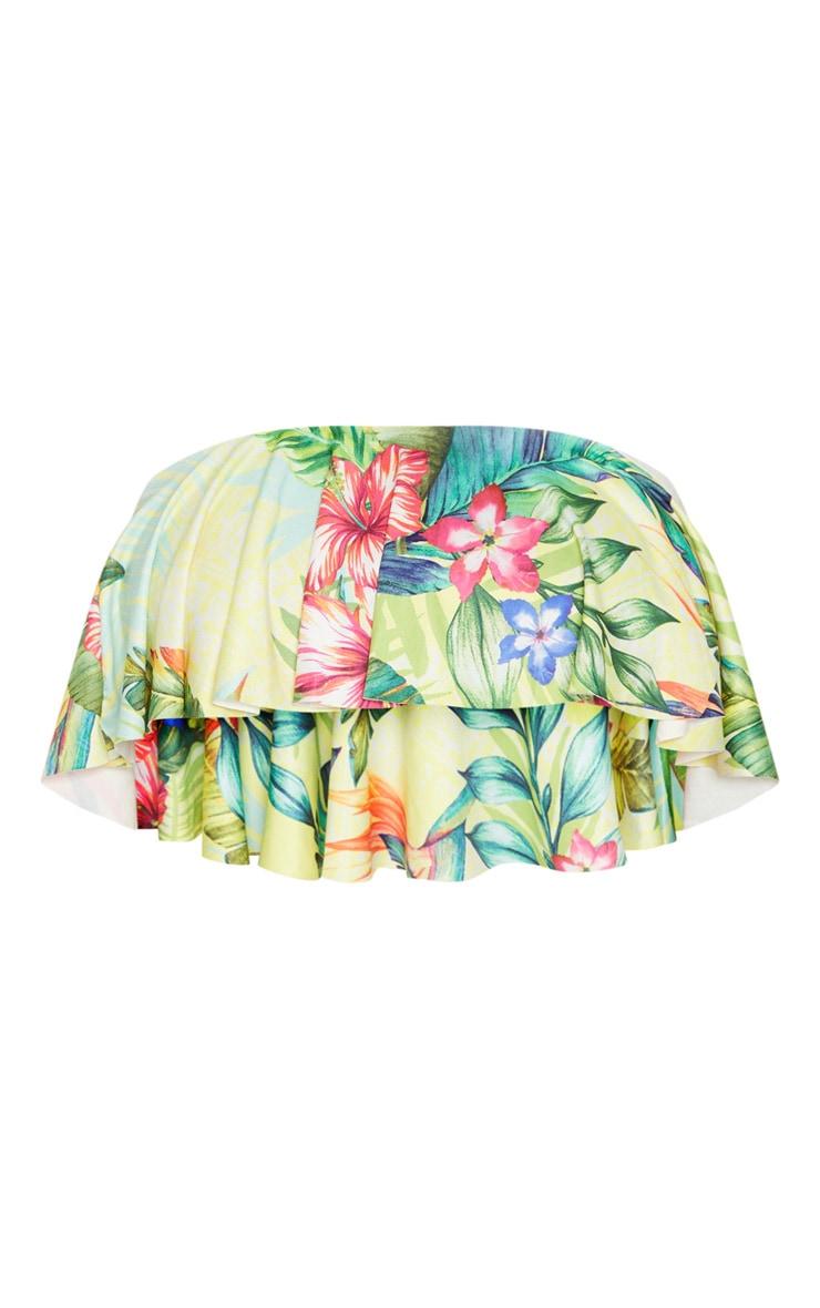 Yellow Tropical Frill Strapless Bikini Top 3