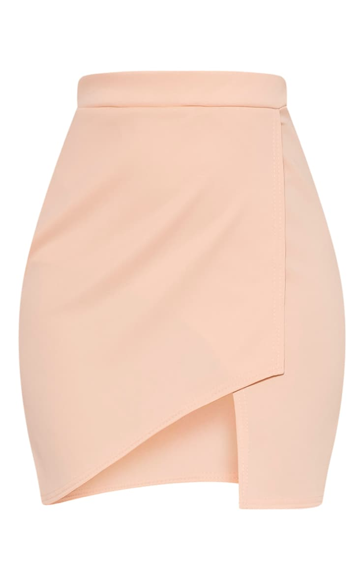 Marcella Nude Asymmetric Wrap Mini Skirt 3