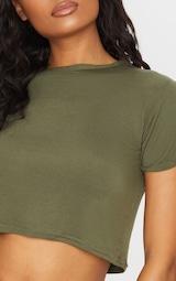 Basic Khaki Roll Sleeve Crop T Shirt 4