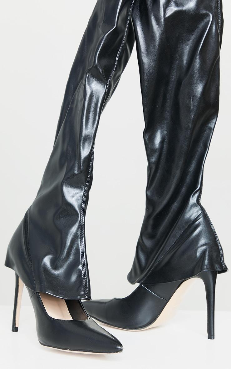Black PU Thigh High Court Shoe Boots 3