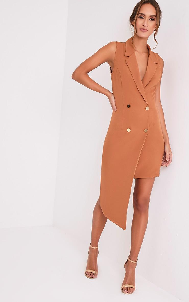 Samanthia Camel Asymmetric Blazer Dress 5