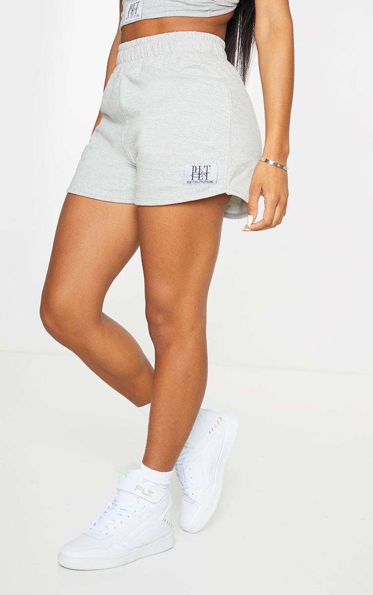 PRETTYLITTLETHING Shape Grey Badge Sweat Shorts 2