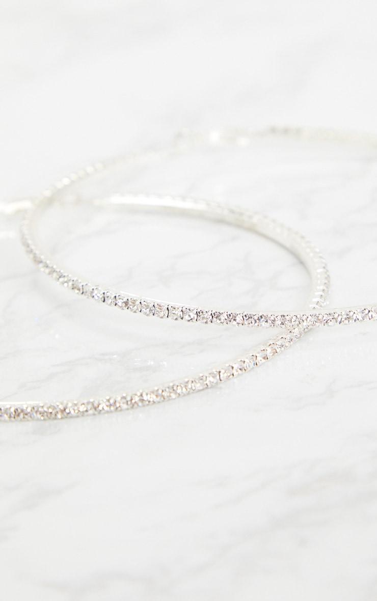 Silver Oversized Diamante Hoop Earrings 4
