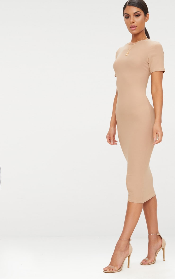 Basic Taupe Cap Sleeve Midi Dress  4