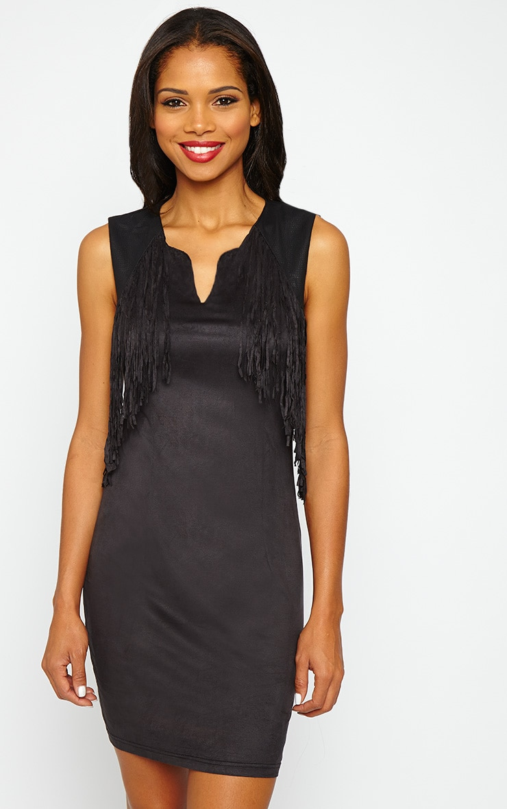 Talitha Black Suedette Fringe Dress 1