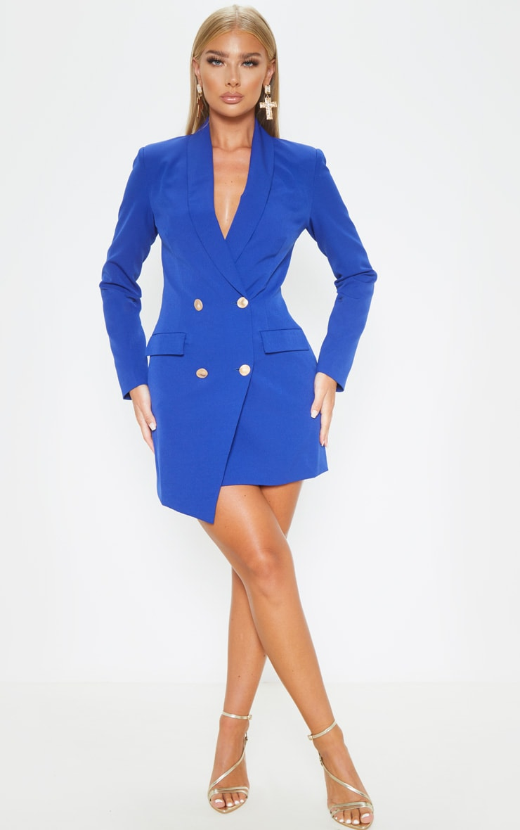 Blue Gold Button Blazer Dress 4
