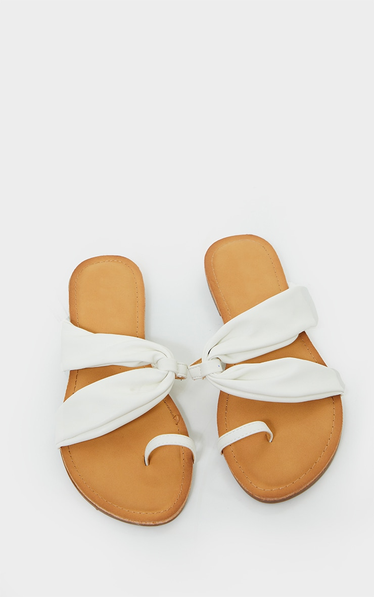 White PU Toe Loop Pull Over Detail Flat Mule Sandals 3