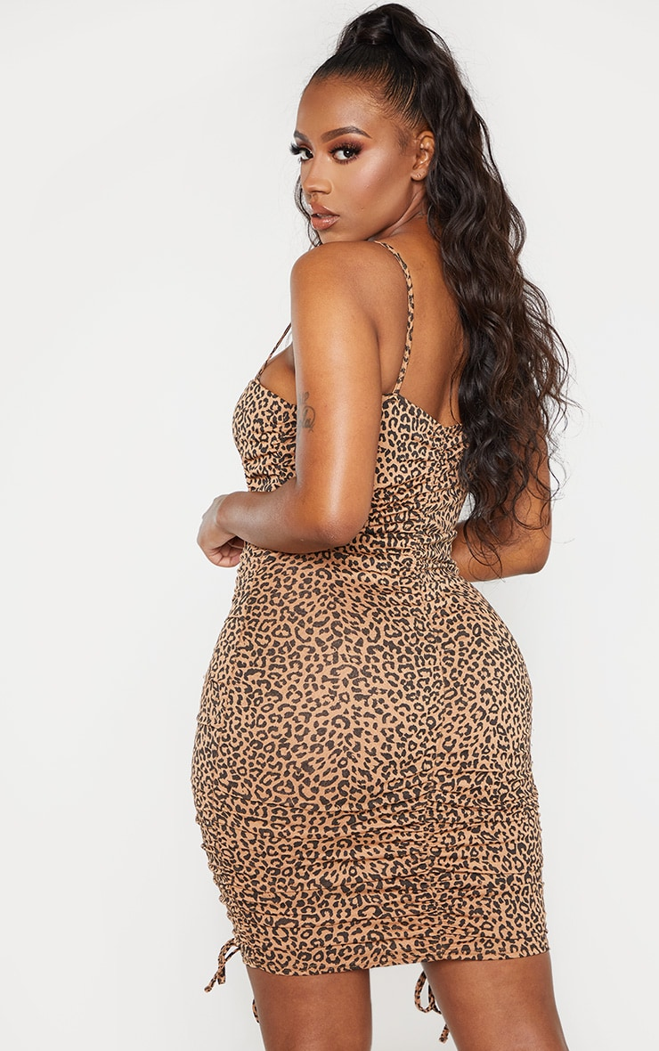Shape Brown Leopard Print Strappy Ruched Bodycon Dress 2