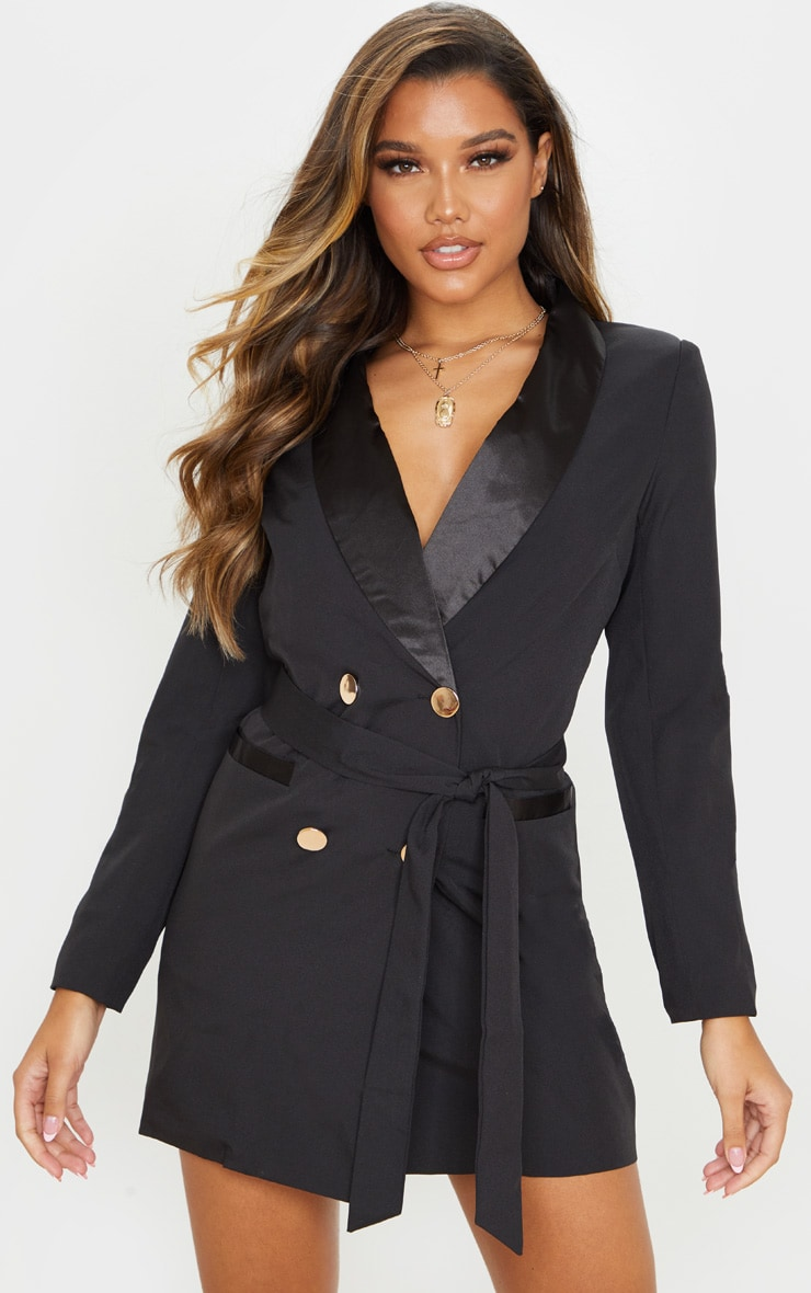 Black Gold Button Satin Detail Blazer Dress 1