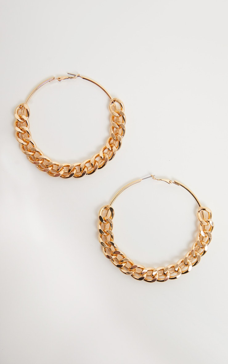 Gold Chunky Chain Hoops 2