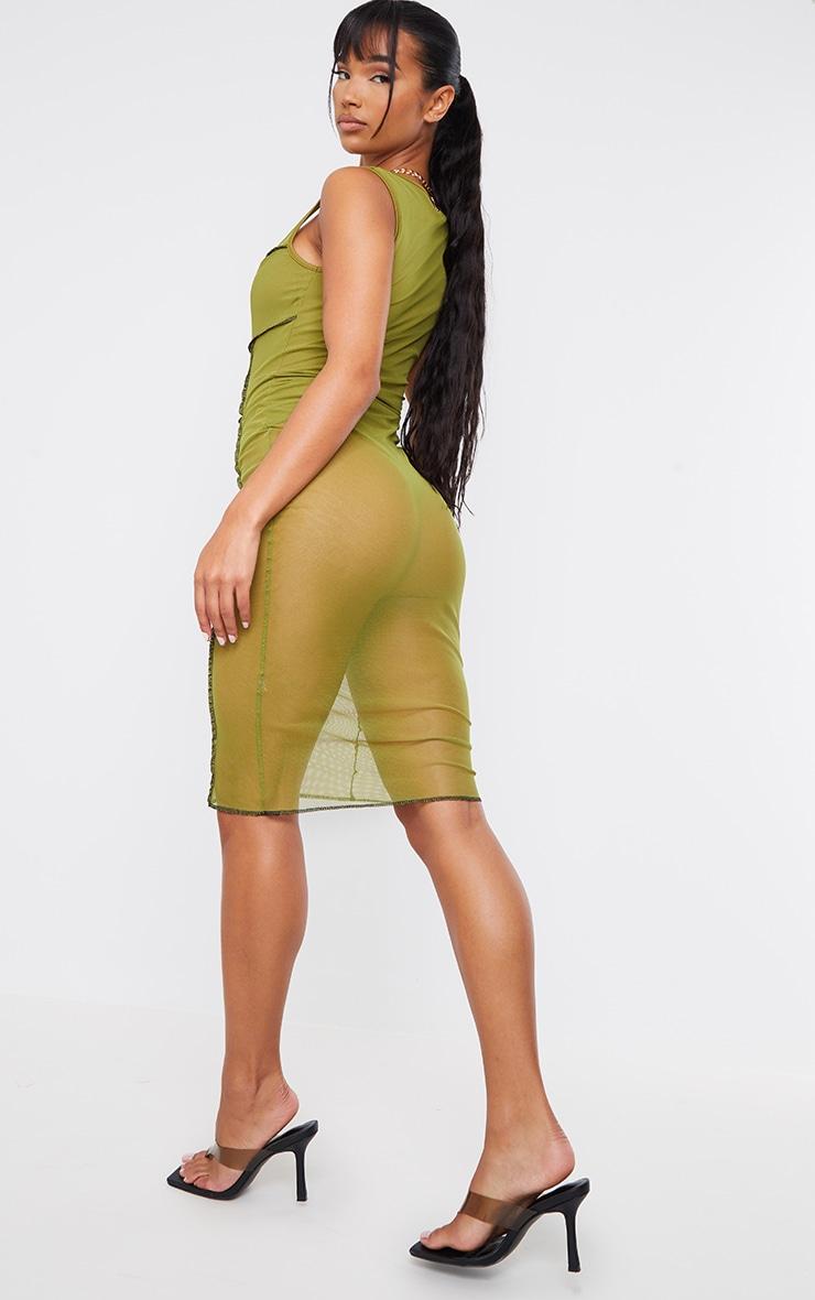 Olive Mesh Overlock Stitch Sleeveless Square Neck Midi Dress 2