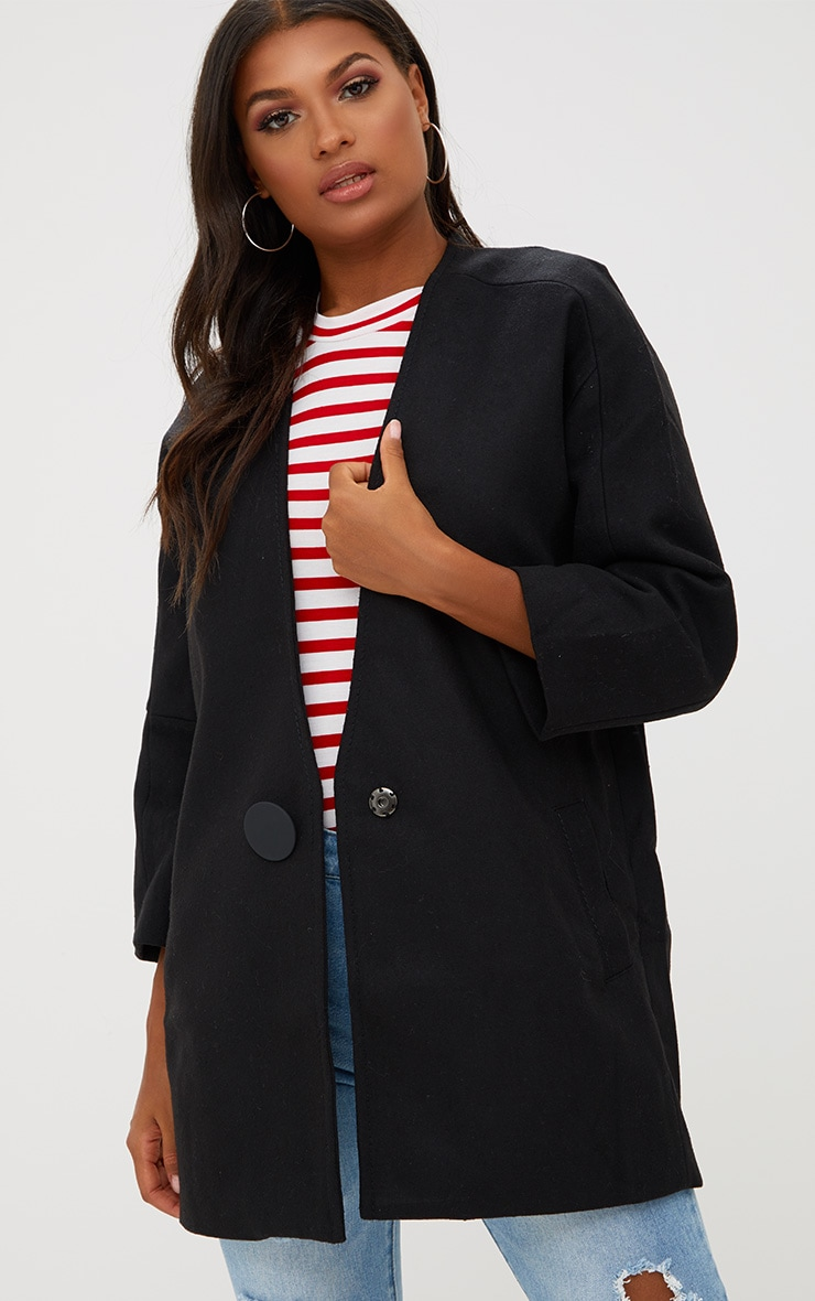Black Mid Length Button Coat 4