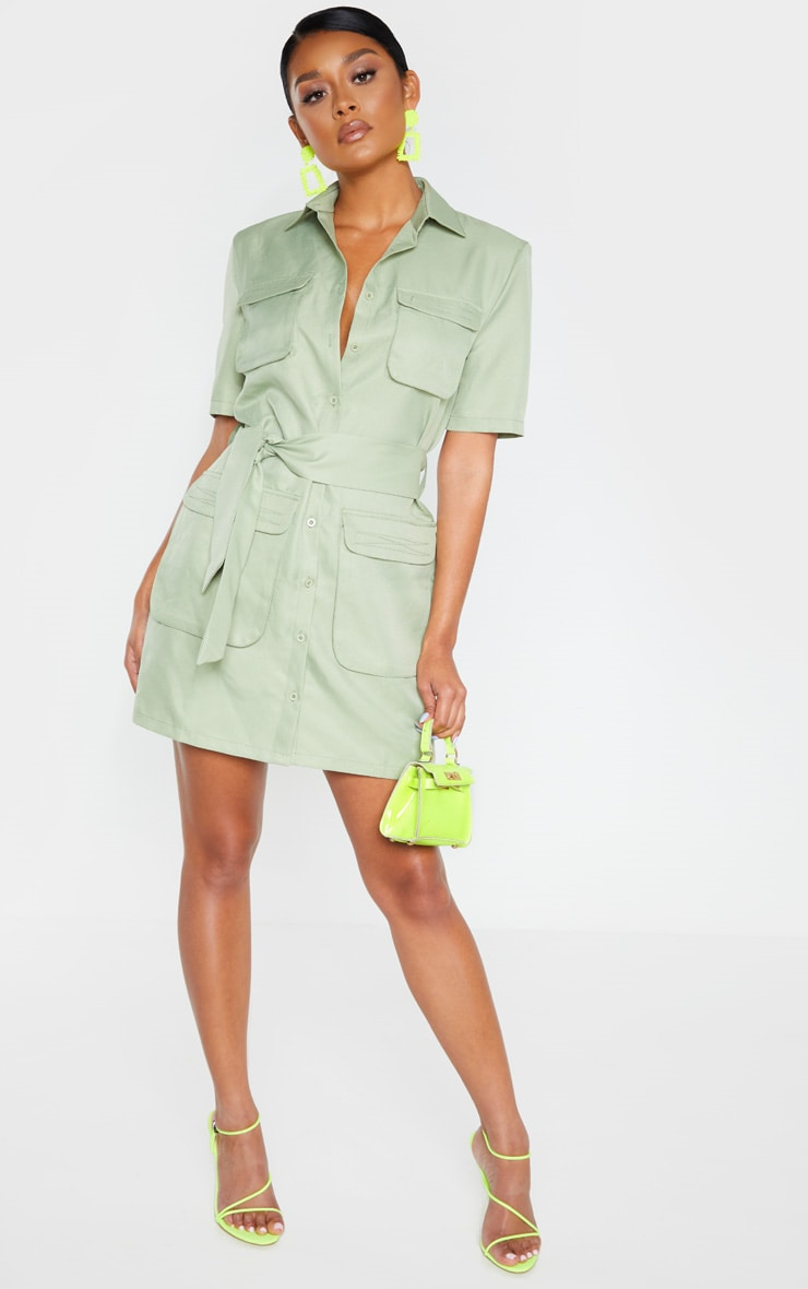Sage Green Utility Short Sleeve Shirt Dress 1