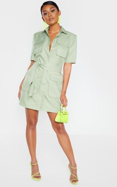 Sage Green Utility Short Sleeve Shirt Dress