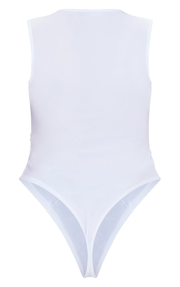 Shape White Rib Seam Panel Detail Bodysuit 6