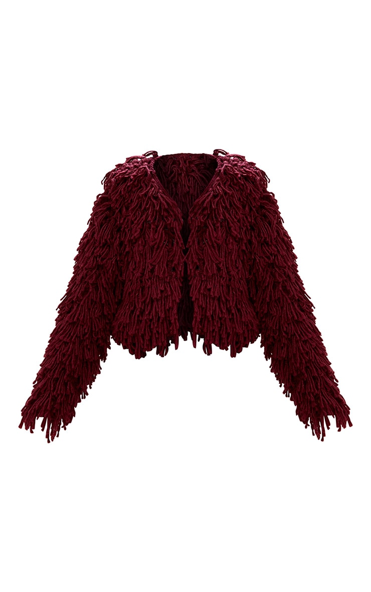 Burgundy Shaggy Knit Cropped Cardigan 3
